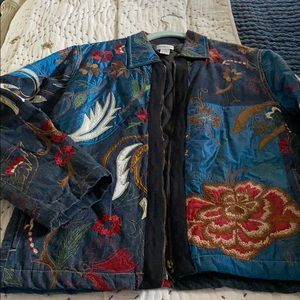 Denim embroidered jacket so cute!